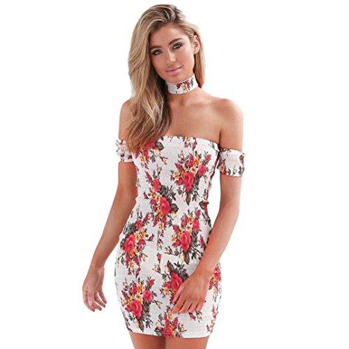 vestidos de mujer,Switchali Mujer Vendimia Bohemia Floral moda vestido de Fiesta Nocturna Mini Vestido de playa Sin mangas bodycon ropa mujer nuevo 2017 barato (Asiático Tamaño:S, Blanco)