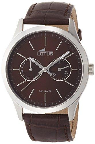 Lotus 15956/2 - Reloj de cuarzo para hombre, con correa de cuero, color marrón