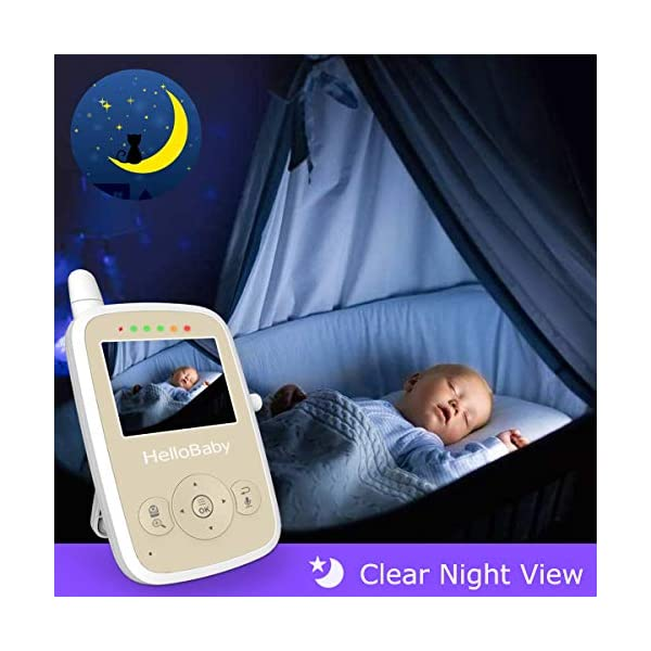 "HelloBaby HB248 Video Baby Monitor with Remote Camera Pan-Tilt-Zoom, 2.4'' Color LCD Screen, Infrared Night Vision, Temperature Monitoring, Lullaby, Two Way Audio, Includes Wall-mounting Parts HELLO BABY 2.4"" LCD DISPLAY & 2.4GHz WIRELESS TECHNOLOGY: This video baby monitor is equiped with a 2.4 inch TFT LCD display. Application of frequency hopping and digital encryption technology ensures secure and reliable connection. REMOTE PAN TILT and ZOOM: Remote control camera rotate 355° in horizontal and 120° vertical ensuring you always have a clear view of your baby from any angle. TWO WAY TALK: The crystal clear two-way audio feature allows conversation both ends as clear as if you were in the same room with your little one. 3"