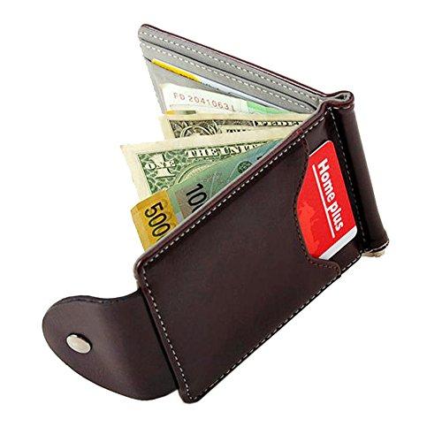 Leder Kartenhalter - Card holder - Youson Girl Men Wlallet Mini Leder Bifold Card Wallet Slim Geldbörse Orange (grau) grau
