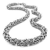 Adisaer Edelstahl Herren Halskette - Byzantine Chain Link Punk Rock Silber Schmuck