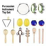 ammoon 10 Pezzi Strumenti Musicali Percussione Giocattolo Set di Band di Ritmi Incluso Tambourine Maracas Triangle Castanets Wrist Bell per Bambini