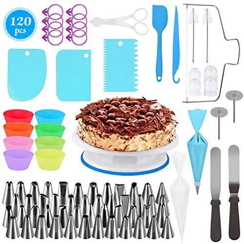 Decorazione torta set, 120 pezzi di utensili da decorazione per torte con borse ed ugelli per glassa, giradischi, spatola, unghie di fiori, fresa per dolci, spazzola, adatta per cupcake dolci torta