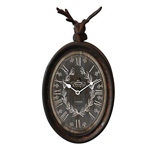BHP Landhaus Stil Wand Uhr Zeit Anzeige Hirsch Tier Figur Motiv rostfärbig Braun Antik Design B991749