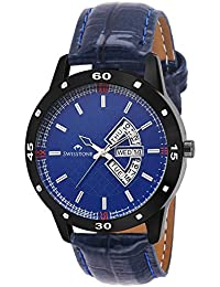 Swisstone BK315-BLU Day And Date Display Blue Leather Strap Wrist Watch For Men