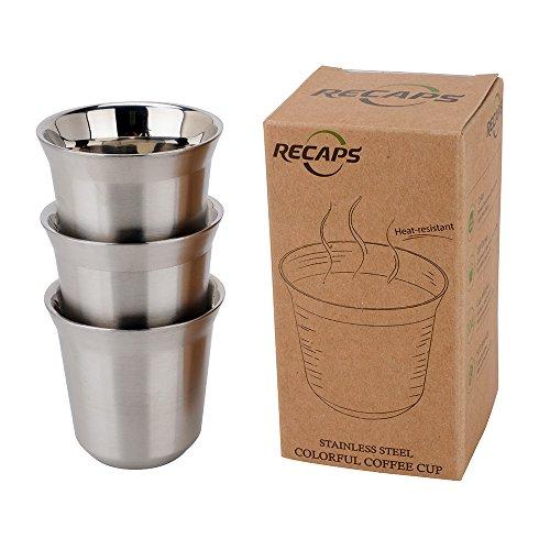 RECAPS--80ml Edelstahl Espresso Cups Set - 3 er Pack Double Wand Edelstahl Espresso Cup Von RECAPS 2.7oz Espresso Maker-3 Cup
