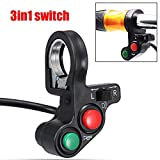 zhuotop rot grün 7/20,3 cm Motorrad 3 in1 Head/TURN Signal Light/Horn On-Off-Schalter Lenker Taster