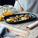Ciotola per spaghetti Piatto lungo fatto a mano verde scuro, piatto da pranzo in pietra vecchio irregolare Piatto da pesce Piatto da frutta vintage Piatto con bocca bassa Stoviglie in ceramica multius