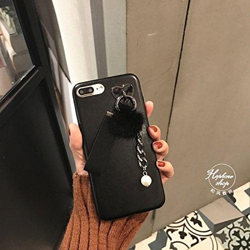 Hülle für iPhone 7 plus , Schutzhülle Für iPhone 7 Plus Leder weichen schützenden rückseitigen Abdeckungs-Fall mit Pelzkugel-Kettenanhänger ,hülle für iPhone 7 plus , case for iphone 7 plus ( Color :  Black