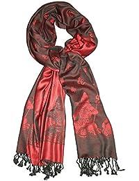 Schal Himalaya Elefanten rot schwarz Viskose Tuch Stola Halstuch Accessoire