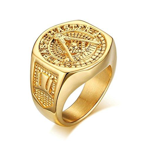 Bishilin Mode Schmuck Edelstahl Gold Ringe Herren Hoch Poliert Gothic Biker Freimaurer Ring Gold Größe 67 (21.3) (Prime Freimaurer Ringe)