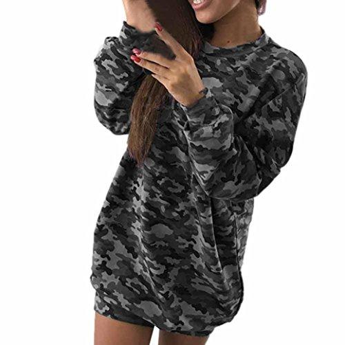 Damen Fashion Sexy Camouflage Langarm O-Neck Kleid Lila Camouflage Kleid