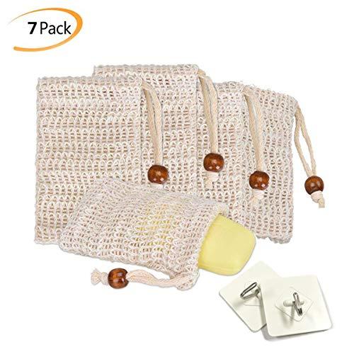 Qcore 5x Seifensäckchen - 2x handtuchhaken selbstklebend, sisal seifensäckchen, öko seifenbeutel,Seifenbeute Natur, Aufschäumen und Trocknen der Seife, Peeling, Massage, Seifensack | Seifenreste