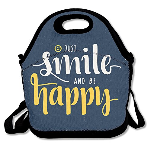 KKWODWCX Just Smile And Be Happy Quote Water Resistant Portable Lunch Bag Carry Case Tote With Zipper Cooler Container Bags Picnic Outdoor Travel Fashionable Handbag Pouch For Women Kids Girls