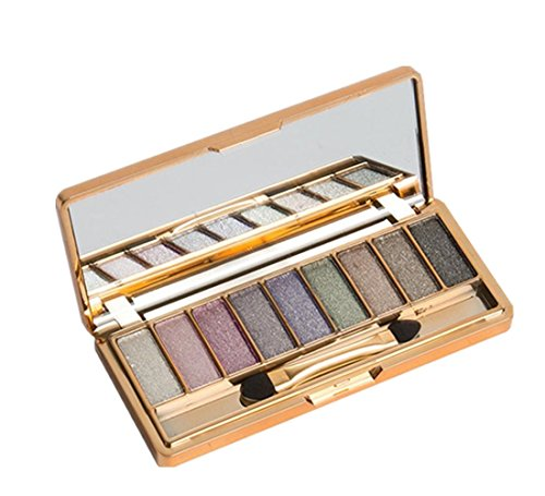 Palette Fard à Paupières,LONUPAZZ 9 Couleurs De Maquillage Palette D'Ombres à PaupièRes Shimmer Eyeshadow Stick Pinceau à Maquillage (D)