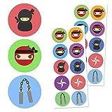 TownStix Ninja Kinder Aufkleber Sticker Set - 10 Designs, 20 Blätter, 200 Stücke