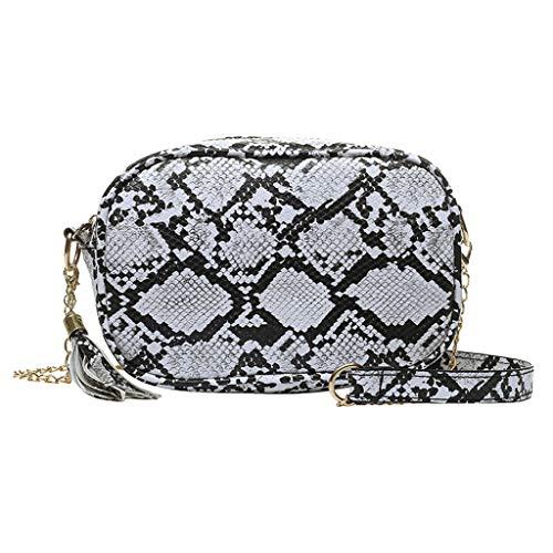 Linkay Neuer HeißEr Verkauf Mode Wild Damen Schlangenmuster Tasche Handtasche Quasten Vielseitig UmhäNgetasche Rucksack (Weiß -