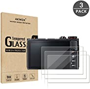 (Pack of 3) Compatible Canon Eos M50 M6D M100 LCD Screen Protector, AKWOX 9H Hardness 0.33mm Camera Tempered Glass Film for