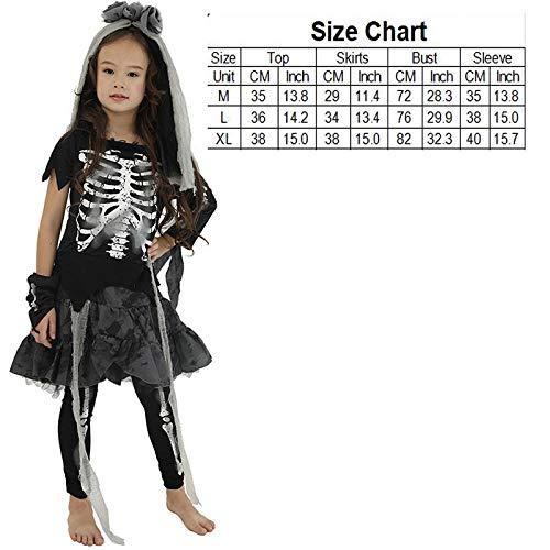 Toten Kostüm Mädchen Gothic - Scary Cosplay Kinder Gothic Braut Kostüm Halloween Vampire Kleid für Mädchen Tag der Toten Karneval Party Disguise Devil Kids@Kinderhexe_L