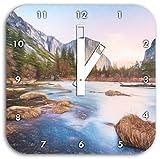 Yosemite National Park California Kunst Buntstift Effekt, Wanduhr Durchmesser 28cm mit weißen eckigen Zeigern und Ziffernblatt, Dekoartikel, Designuhr, Aluverbund sehr schön für Wohnzimmer, Kinderzimmer, Arbeitszimmer