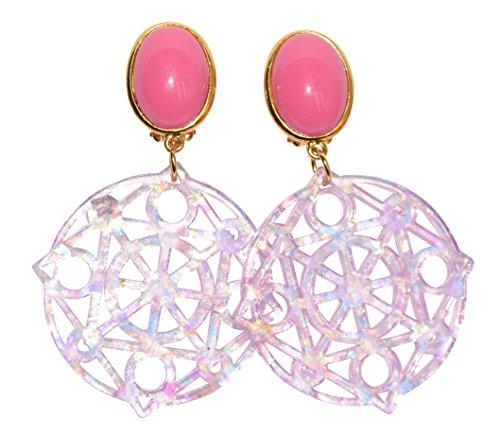 Sehr große leichte Ohr-Clips vergoldet Stein knallig-pink Anhänger rund rosa schillernd chic Mode Fashion Statement Party Fest Designer JUSTWIN