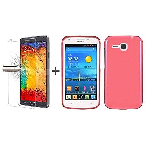 TBOC® Pack: Rot Gel TPU Hülle + Hartglas Schutzfolie für Huawei Ascend Y600. Ultradünn Flexibel Silikonhülle. Panzerglas Displayschutz in Kristallklar in Premium Qualität.