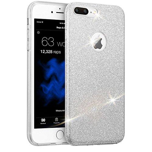 Étui design pour téléphone iPhone 6 / 6S avec des pailettes brillantes vernis Coque Brillante Luxueuse en Silicone Argent Papillon argent