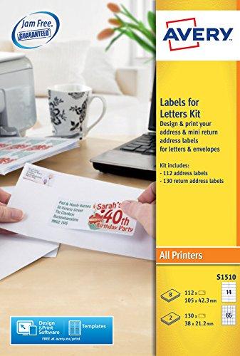 Avery S1510étiquettes pour colis et paquets kit, assortis Lot de imprimable adresse et étiquettes d'adresse de retour