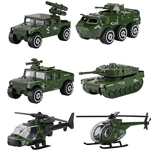 Hautton veicolo militare giocattolo, veicoli militari modellini metallo pressofuso elicottero, serbatoio, jeep, veicolo antiaereo, armore macchinine giocattolo per bambini ragazze ragazzi(6 pez)-verde