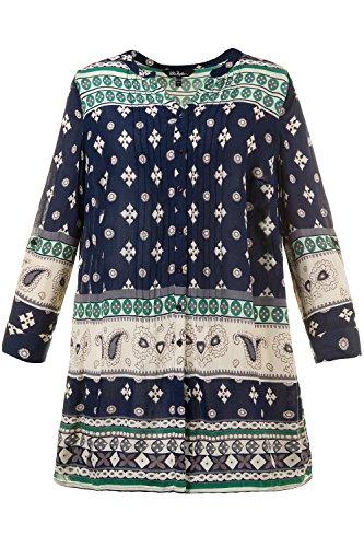 Ulla Popken Femme Grandes Tailles Blouse Longue 709675 bleu pacifique