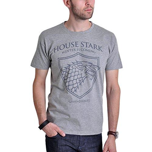 Game of Thrones House Stark T-Shirt mit Schattenwolf von Elbenwald grau Grau