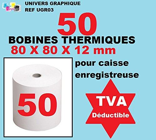 50 bobine cassa 80 x 60 x 12 mm in carta termica per registratori di cassa rotolo di carta termica