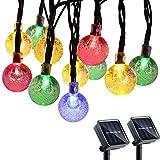 Qedertek Solar Lichterkette Aussen mit 30 LED Bunt Solar Kugel Lichterkette Außen (2 Stück) 6m 8 Modi Weihnachtsbeleuchtung für Garten, Hochzeit, Party, Weihnachtsbaum Deko