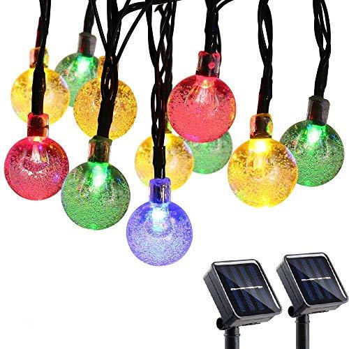 Qedertek Guirlande Solaire (Lot de 2) 6M 30 Boules Led Multicolore Guirlande Lumineuse Extérieure Ornement Lumière avec 8 Modes d'éclairage pour décorer le Jardin, Patio, Mariage