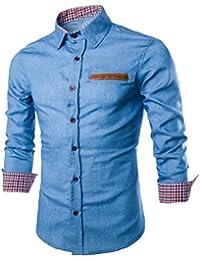 Camisa de Hombre Manga Larga Camisas de Vestir Formales Slim Fitness Tops  Camisetas Blusa Camiseta Térmica e6460b2a78b