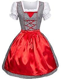 Dirndl 3 tlg.Trachtenkleid Kleid, Bluse, Schürze, Gr. 34-52 schwarz/weiss kariert