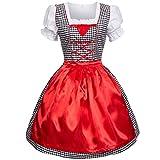 Dirndl 3 tlg.Trachtenkleid Kleid, Bluse, Schürze, Gr. 46 schwarz/weiss kariert