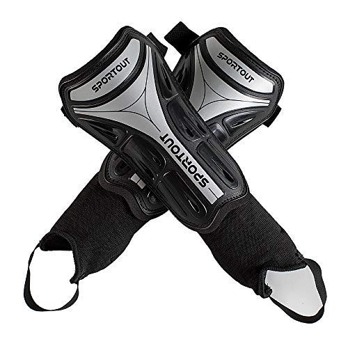 Sportout Kids Jugend Erwachsene Fußball Schienbeinschoner mit schützender Hartschale, bietet umfassenden Schutz für die Beine Ihrer Kinder. (Mit Knöchelriemen, M)