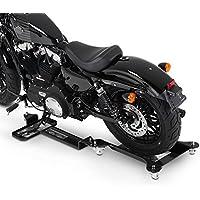 ConStands Motomover II - Motorrad Rangierschiene Schwarz Rangierwagen Rangierhilfe Seitenständer Hinterrad