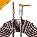 OTraki Gitarrenkabel, L-förmig, vergoldet, 90 Grad, geräuschlos, 6,35 mm Klinke gerade zu rechtwinklig, Instrumentenkabel mit Tweed für elektrische oder akustische Gitarre, 10 m