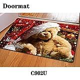 Hemore Anti-Rutsch-Fußmatte für Küche, waschbar, für Badezimmer, Eingangsbereich, mit Weihnachts-Muster, Heim- und Bürobedarf