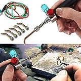 Kit de soldadura de soldadura de soldadura de joyeros para reparación de piezas de primeros auxilios, mini soplete de gas con 5 puntas de herramientas de reparación de primeros auxilios