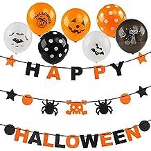 Kesote Set di Festoni Happy Halloween + 15 Palloncini Causali Striscione con  Rangni 138c7f76eca8