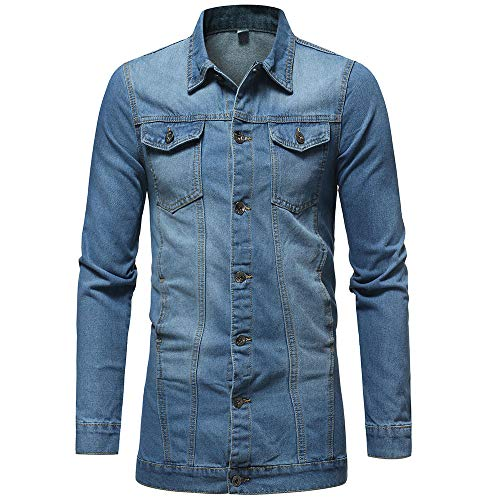 Geili Herren Jeans Jacket Biker Style Jeansjacke Vintage Washed-Out Denim Jacke Lang Sweatjacke Sweatshirt Männer Herbst Große Größen Übergangsjacke Freizeit Mantel Outwear