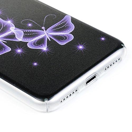 """Lanveni Coque iPhone 7(4.7"""") - Housse étui PC Plastique Phone Cover Case Protection de Téléphone iPhone 7(4.7"""") Transparente Dur Surface Ultra Fine Légère Antichoc Anti-poussière - Papillons Violet Papillons Violet"""