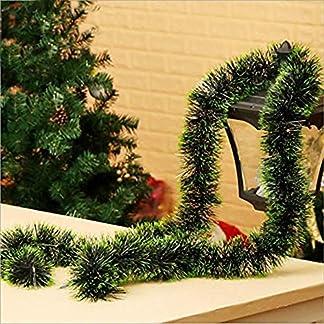 Kentop Espumillón para árbol de Navidad (2m) Navidad Colgar Decoración Size 2M (Borde Verde Oscuro)