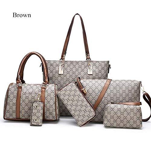 SPFTOY Damen Handtasche Shopper Handtasche Schwarz Elegant Schwarze Damen Tasche für Büro Schule Einkauf-Brown