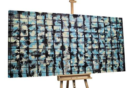 'Inspirational' 200x100cm | Abstrakt Muster Blau Schwarz | Modernes Kunst Ölbild
