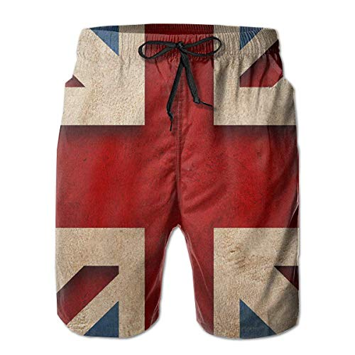 British Flag Men's Swim Trunks Board Beachwear Casual Beach Shorts for Men with Mesh Lining,Size:XL