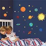 Adesivi murali Sistema Solare per camere per Bambini Stelle Spazio Esterno Cielo Decalcomanie della Parete Pianeti Terra Sun Saturno Marte Poster Murale